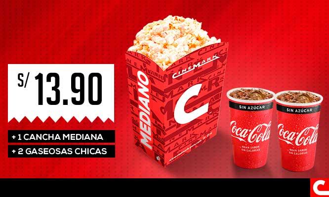 Cinemark Cancha mediana 2 gaseosas chicas (Muestra el cupon desde tu celular/ valido para cualquier pelicula)