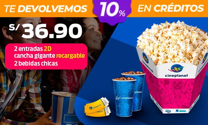Cineplanet 2 entradas 2D 2 bebidas cancha gigante recargable
