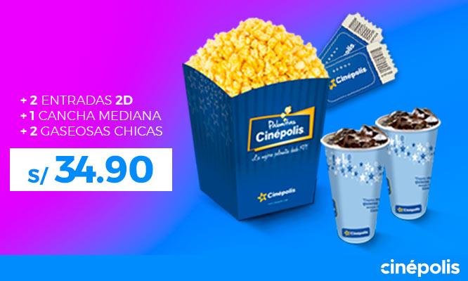 Cinepolis S/ 3490 por 2 entradas 2D pop corn mediano 2 bebidas de 16 oz