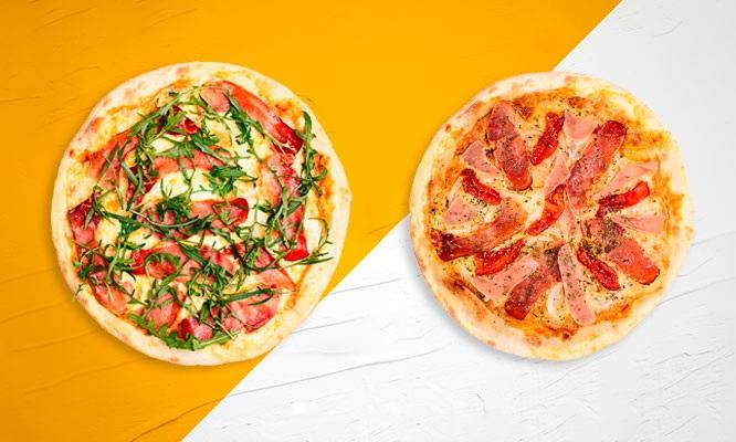 Pizza Deluxe Grande Carnivora Cordon Bleu Suprema 1 porcion de Pan al ajo y mas