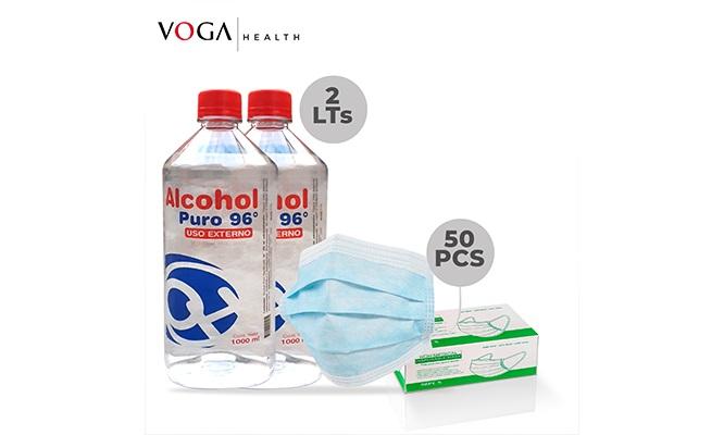 Super Pack 1L de Alcohol de 96° Caja de 50 Mascarillas 3 pliegues y delivery