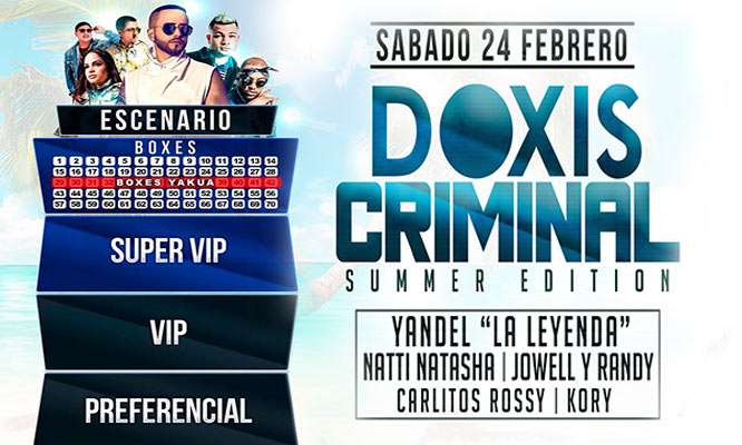 Doxis Criminal Summer Edition entrada preferencial VIP o Super VIP