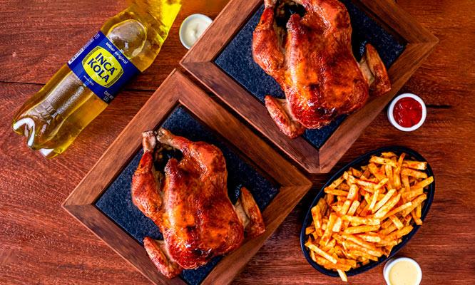 ¡Recoge ya! 2 pollos a la brasa papas fritas familiares gaseosa ¡Riquisimo!