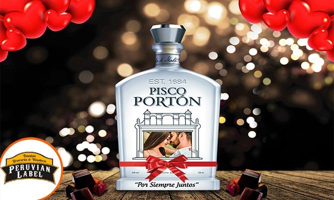 Lince Botella de pisco Porton con tu foto personalizada