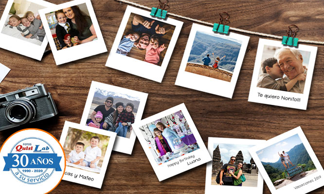 Impresion de 20 Fotos Decorativas tipo Polaroid con Quisilab Fotos