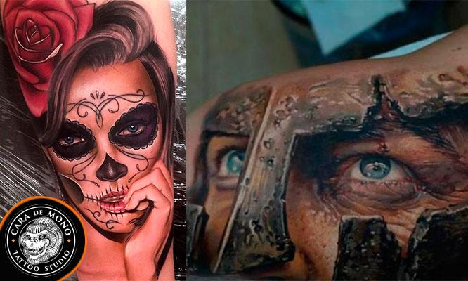 Tatuaje en escala de Grises de 20 cm de largo a 10 a 15 cm de ancho
