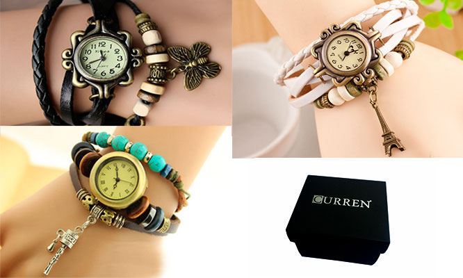 San Borja Set de 3 relojes pulsera vintage en cuero para dama empaque individual