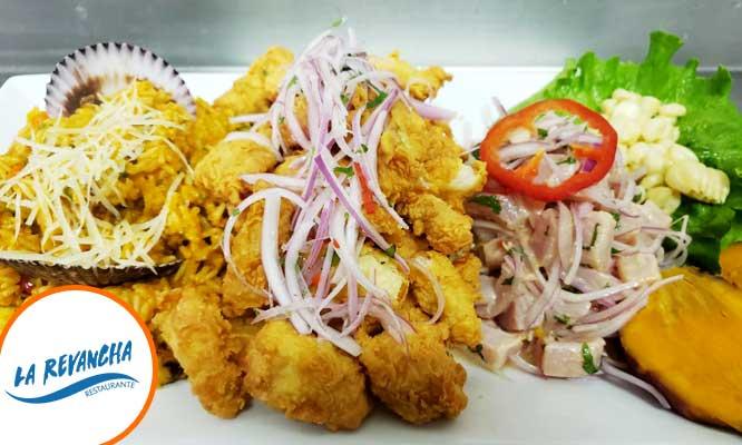 trio marino Arroz con mariscos ceviche y mas con La Revancha / Opcion a delivery