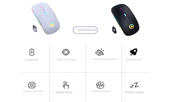 Mouse inalambrico wifi recargable gamer ¡Elige color!¡Incluye delivery!