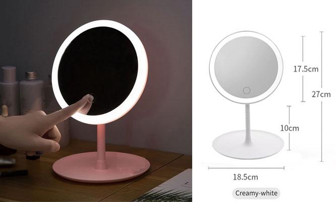 Espejo de tocador con luz LEDy base ¡Incluye delivery!