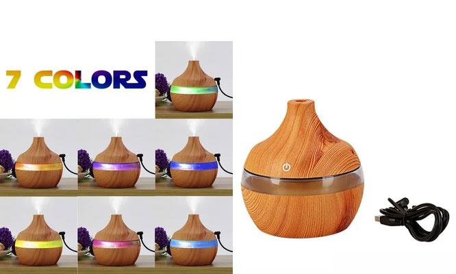Mini Humidificador madera luces LED Multicolor Aromaterapia ¡Incluye delivery!