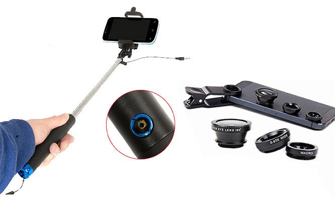 Kit selfie stick lentes ojo de pez gran angular y macro 3 en 1