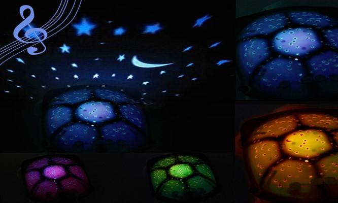 Tortuga peluche con proyector de luces musical pilas