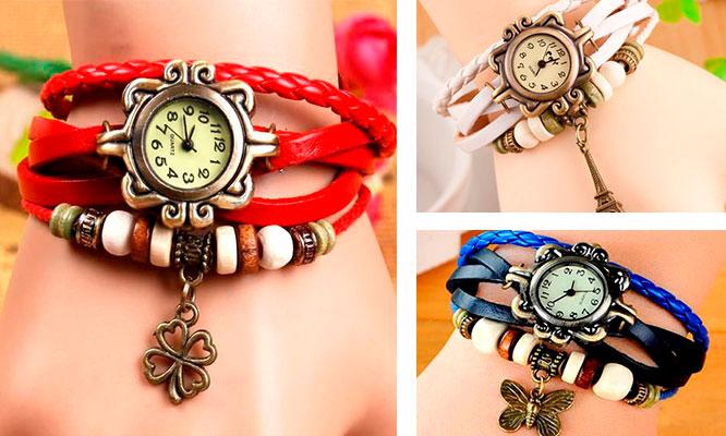 Set de 3 relojes pulsera vintage en cuero para dama empaque individual - San Borja