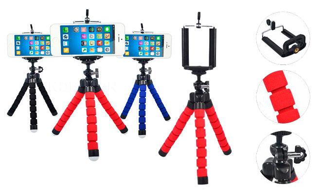 Set Viajero celular Tripode flexible cable Micro Usb o tipo C