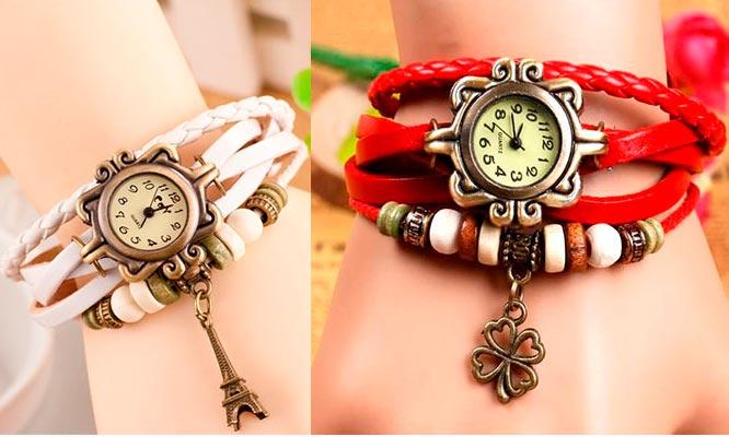 Set de 2 relojes pulsera vintage en cuero para dama empaque individual