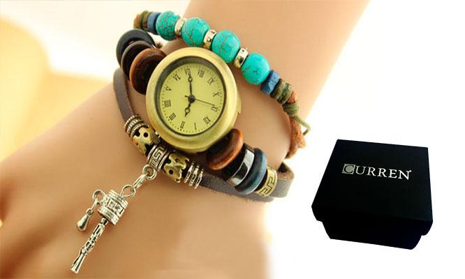 fa513c32de90 San Borja Set de 3 relojes pulsera vintage en cuero para dama empaque  individual