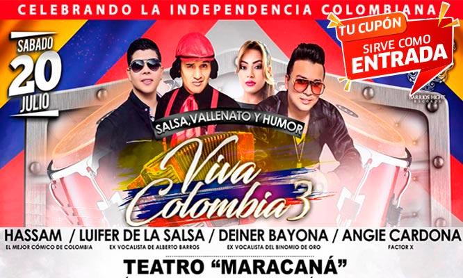 2x1 Viva Colombia entrada Preferencial VIP o Platinium 20/07 - Maracana