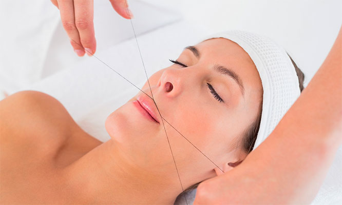 Depilacion de rostro con Hilo Hindu mascarilla manicure