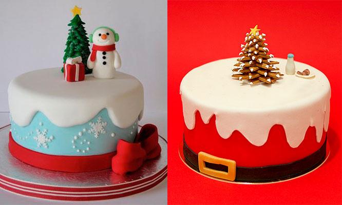 Torta navideña con keke y relleno de sabores a eleccion