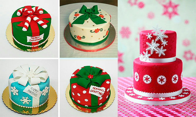 Torta Navideña con masa elastica para 20 30 o 50 personas con opcion bocaditos