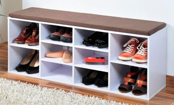 Delivery zapatera con coj n o con caj n en melamina 4 6 for Muebles para guardar zapatos ikea