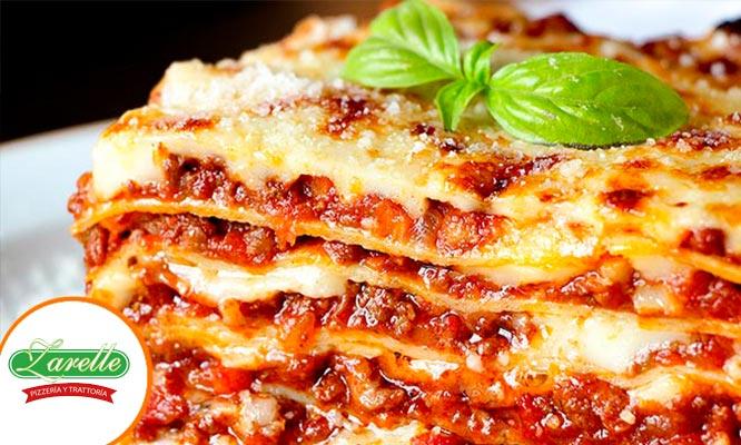 Para 1 o 2 pan al ajo Lasagna o pasta a eleccion bebida o copa de vino